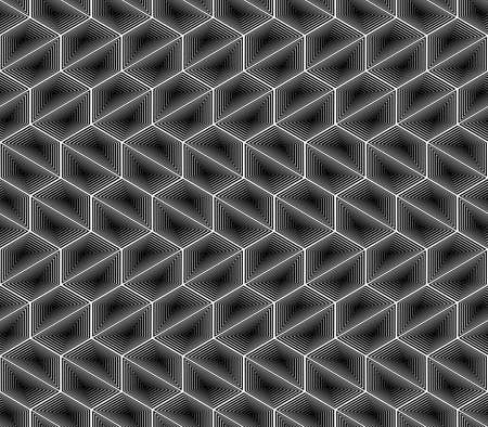 trapezium: Design seamless monochrome hexagon geometric pattern.