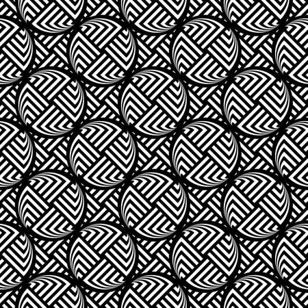 elipse: Diseño blanco y negro sin fisuras patrón geométrico elipse. Fondo rayado abstracto. Vector el arte