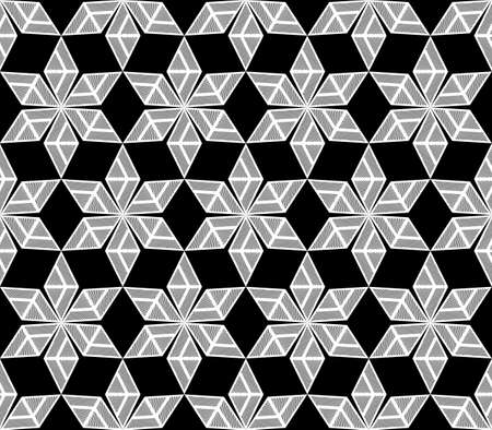 no gradient: Design seamless monochrome diamond decorative pattern. Abstract doodle lines textured background. Vector art. No gradient Illustration