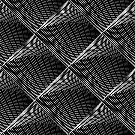 diamante negro: Diseño blanco y negro sin fisuras patrón geométrico. Resumen líneas ondulantes de fondo. Vector el arte. No degradado