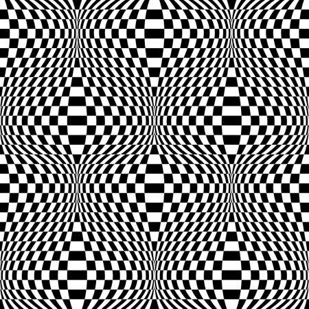 Design seamless monochrome checkered background. Abstract distortion pattern. Vector art Ilustrace