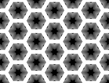 striped lines: Design seamless monochrome star geometric pattern. Abstract striped lines background. Vector art. No gradient