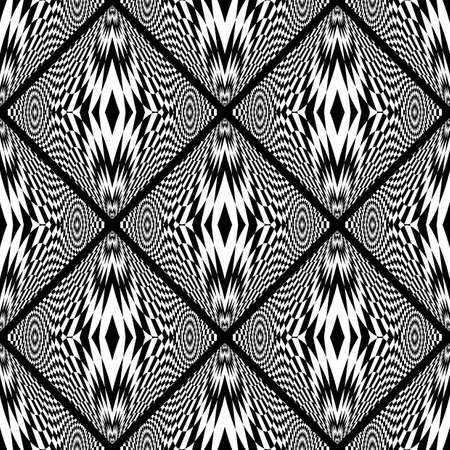 deform: Design seamless monochrome geometric pattern. Abstract checkered background. Vector art. No gradient