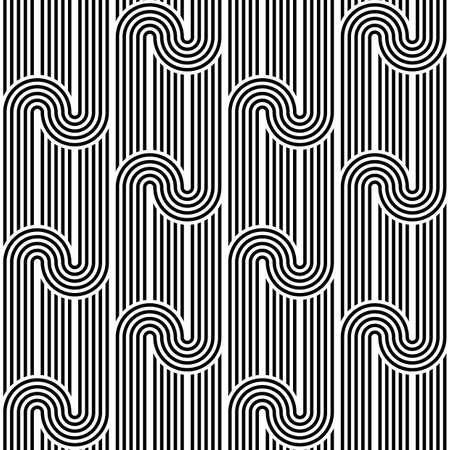 stripy: Design seamless monochrome waving geometric pattern. Abstract stripy background. Vector art