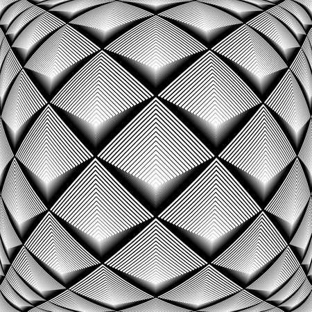 checkered volume: Design monochrome diamond geometric pattern. Abstract striped textured background. Vector art. No gradient