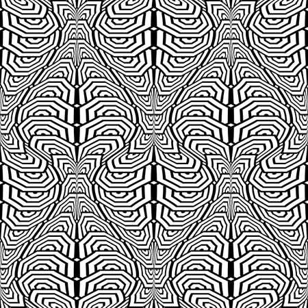deform: Design seamless monochrome stripy pattern. Abstract warped textured background. Vector art Illustration