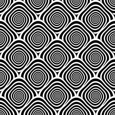 curl whirlpool: Design seamless monochrome twirl pattern. Monochrome geometric striped diagonal background. Vector art