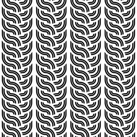 wattle: Design seamless monochrome interlaced pattern. Abstract vertical stripy background. Vector art