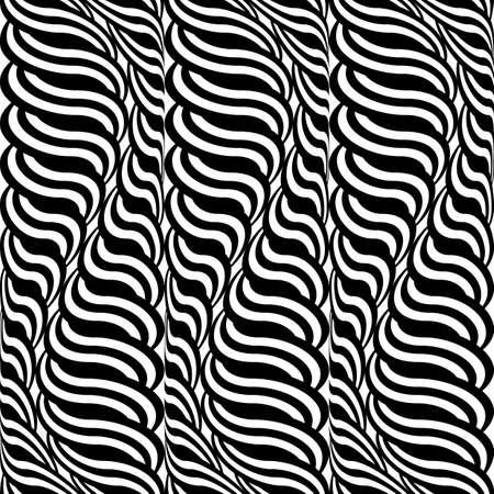 wattle: Design seamless monochrome waving pattern. Abstract vertical stripy background. Vector art