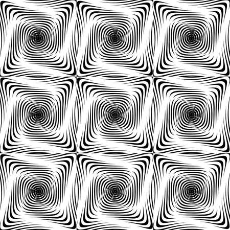 twisting: Design seamless monochrome twisting pattern. Abstract geometric background. Vector art. No gradient