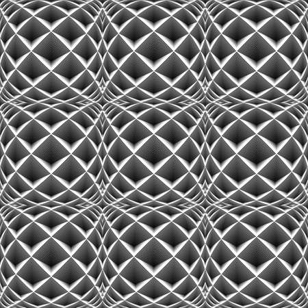 checkered volume: Design seamless monochrome diamond geometric pattern. Abstract striped textured background. Vector art. No gradient