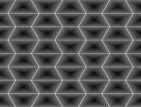 trapezium: Design seamless monochrome hexagon geometric pattern. Abstract striped zigzag background. Vector art. No gradient Illustration