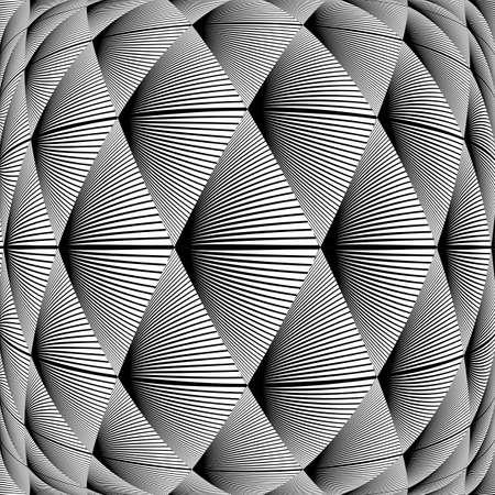 distort: Design warped diamond geometric pattern. Abstract monochrome lines background. Vector art. No gradient Illustration