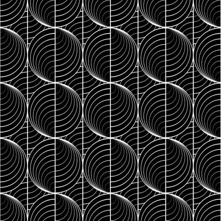 grid pattern: Design seamless uncolored circle lines pattern. Abstract grid textured background. Vector art. No gradient Illustration