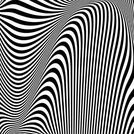 Design monochrome textured illusion background. Abstract striped torsion backdrop. Vector-art illustration