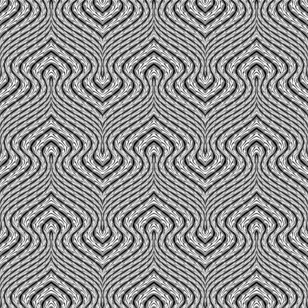 deform: Design seamless monochrome waving pattern. Abstract stripy background. Vector art. No gradient