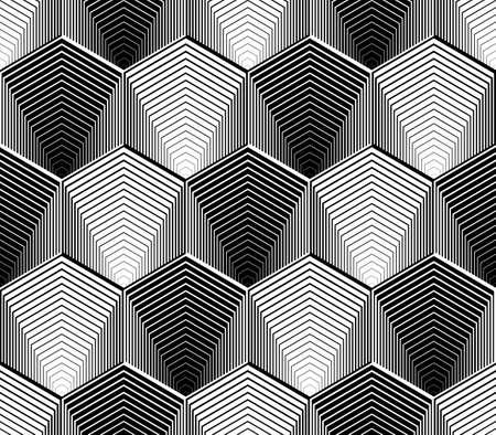 diamante negro: Diseño hexagonal monocromo sin patrón geométrico. Rayas abstractas zigzag fondo. Vector el arte. No degradado