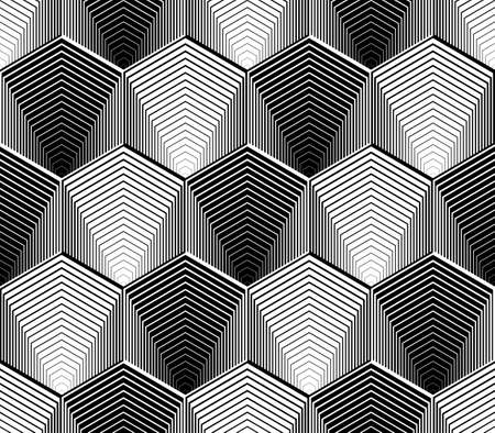 Design seamless monochrome hexagon geometric pattern. Abstract striped zigzag background. Vector art. No gradient Vettoriali