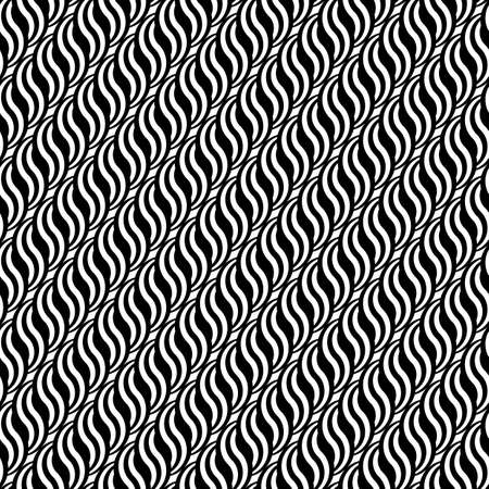 interlace: Design seamless monochrome waving pattern.