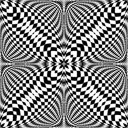 concave: Design seamless monochrome illusion checkered pattern.