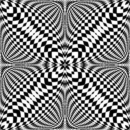 checkered pattern: Design seamless monochrome illusion checkered pattern.