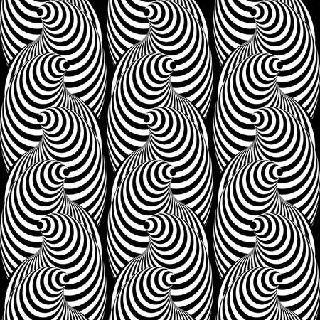salient: Design seamless monochrome cone illusion background. Abstract striped distortion pattern. Vector-art illustration