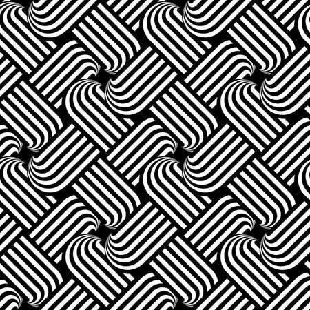 wattle: Design seamless monochrome interlaced pattern. Abstract stripy background. Vector art
