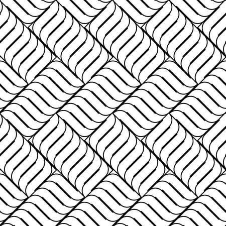 interlaced: Design seamless monochrome interlaced pattern. Abstract textured background. Vector art Illustration