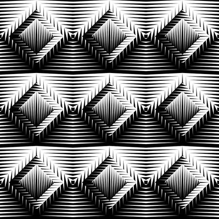 checkered volume: Design seamless diamond trellised pattern. Abstract geometric monochrome background. Vector art. No gradient Illustration