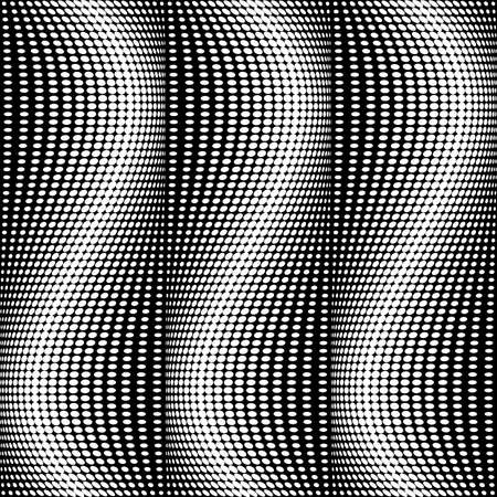deform: Design seamless monochrome dots pattern. Abstract waving background. Vector art. No gradient Illustration