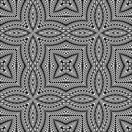 convex shape: Design seamless monochrome flower pattern. Abstract textured background. Vector art. No gradient