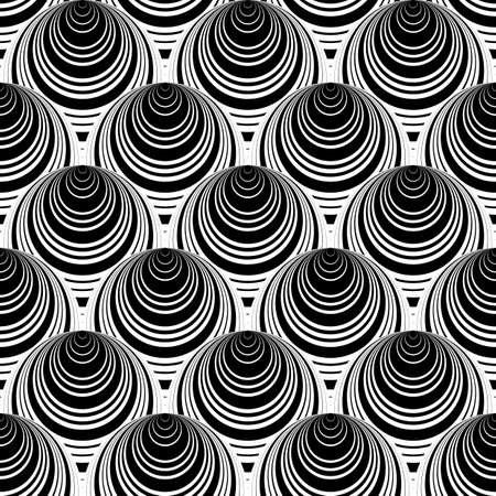 salient: Design seamless monochrome cone illusion background. Abstract striped geometric pattern. Vector art. No gradient Illustration