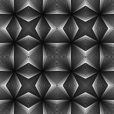 trellis: Design seamless monochrome geometric pattern. Abstract textured background. Vector art. No gradient Illustration