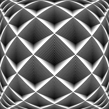 convex shape: Design monochrome diamond geometric pattern. Abstract striped textured background. Vector art. No gradient