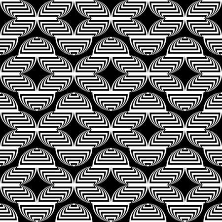 trellis: Design seamless monochrome waving geometric pattern. Abstract stripy background. Vector art