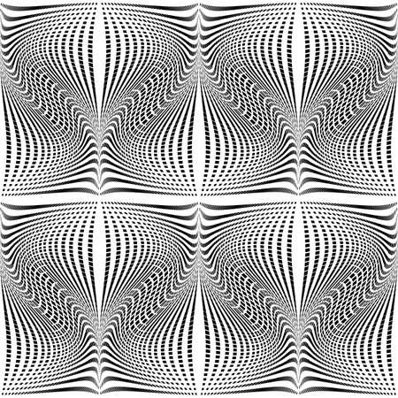 torsion: Design seamless monochrome waving pattern. Abstract grid torsion background. Vector art. No gradient