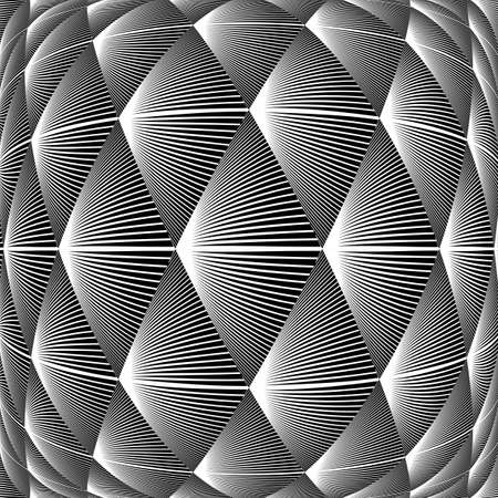 convex shape: Design warped diamond geometric pattern. Abstract monochrome lines background. Vector art. No gradient Illustration