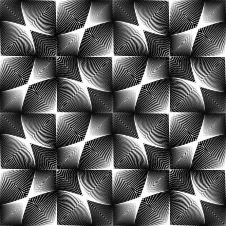 wattle: Design seamless monochrome geometric pattern. Abstract interlacing textured background. Vector art. No gradient Illustration