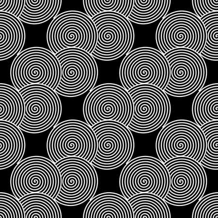 zigzag: Design seamless monochrome spiral twirl pattern. Monochrome geometric ellipse zigzag background. Vector art Illustration