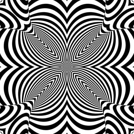 torsion: Design monochrome textured illusion background. Abstract striped torsion backdrop. Vector-art illustration