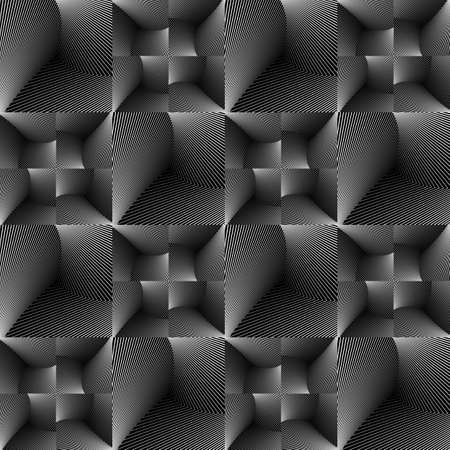 no gradient: Design seamless tiled geometric pattern. Abstract monochrome lines background. Vector art. No gradient