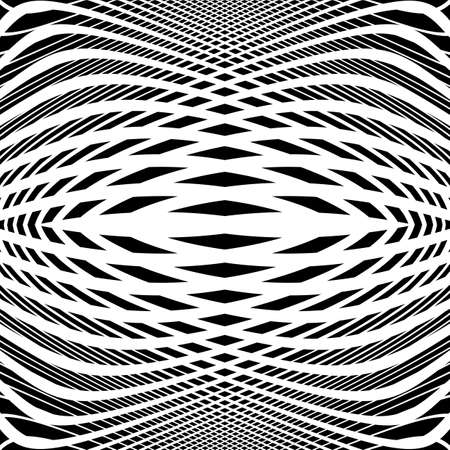 no movement: Design monochrome movement illusion background. Abstract grid distortion backdrop. Vector-art illustration. No gradient