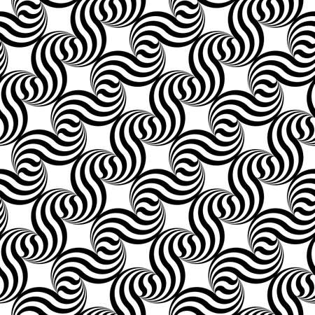 deform: Design seamless monochrome waving geometric pattern. Abstract stripy background. Vector art