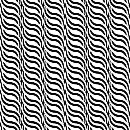 interlace: Design seamless monochrome waving pattern. Abstract vertical stripy background Illustration