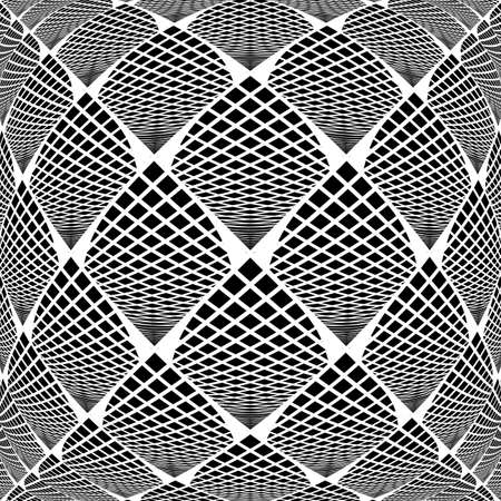 checkered volume: Design warped monochrome checked geometric pattern. Abstract grid textured background Illustration