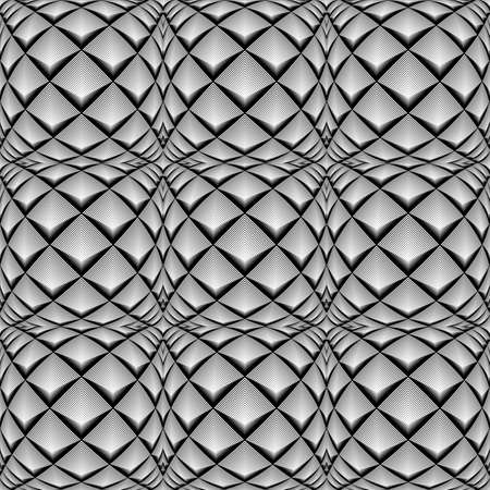 convex shape: Design seamless monochrome diamond geometric pattern. Abstract striped textured background Illustration