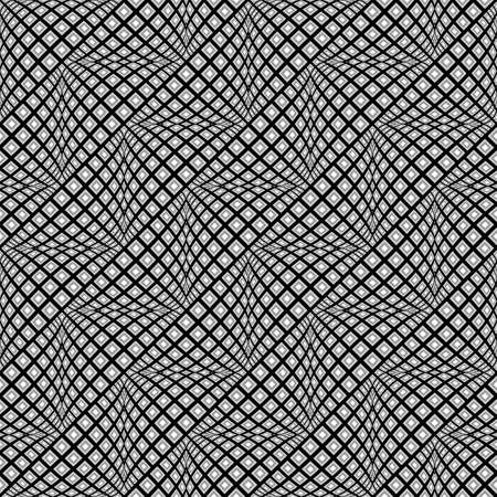 convex: Design seamless monochrome warped zigzag pattern. Abstract convex textured background