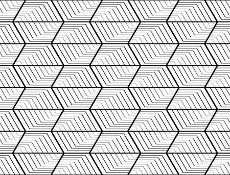 trapezium: Design seamless monochrome hexagon geometric pattern. Abstract striped zigzag background