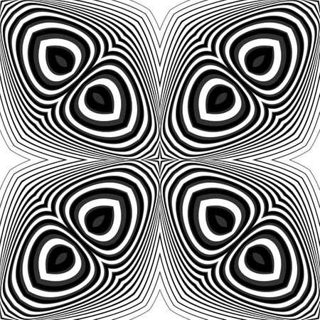 torsion: Design seamless monochrome illusion background. Abstract striped torsion pattern Illustration