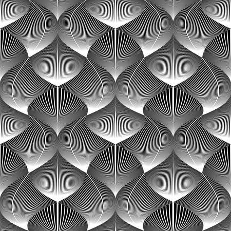 deform: Design seamless monochrome waving pattern. Abstract diagonal twisted lines textured background Illustration